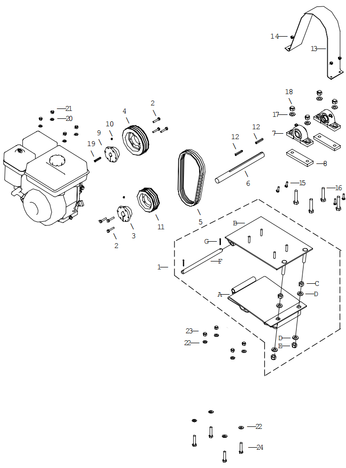 Little Beaver KT2400B Belt Drive Assembly Parts Diagram