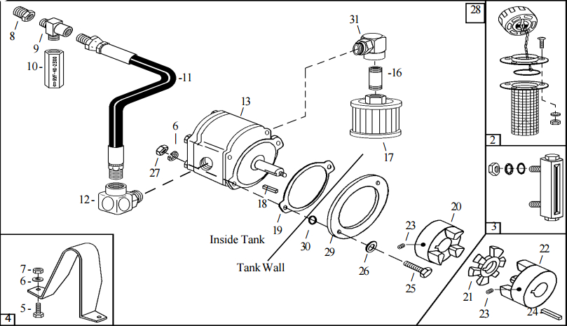 Little Beaver Pump, Filter, and Sight Gauge Assembly Hydraulic Part Diagram