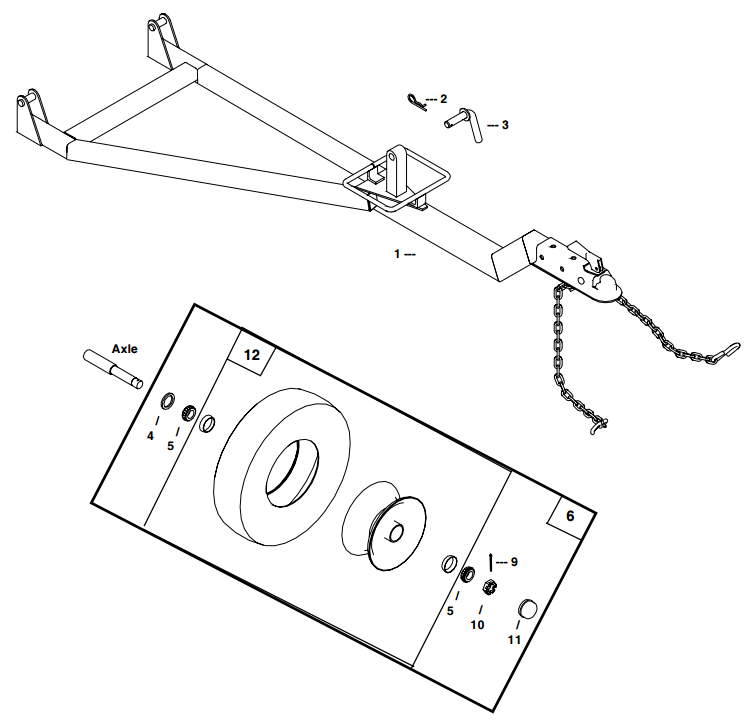 Little Beaver Towable Hitch & Wheel Assembly Parts Diagram